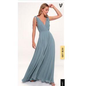 Lulus- DANCE THE NIGHT AWAY SLATE BLUE MAXI DRESS